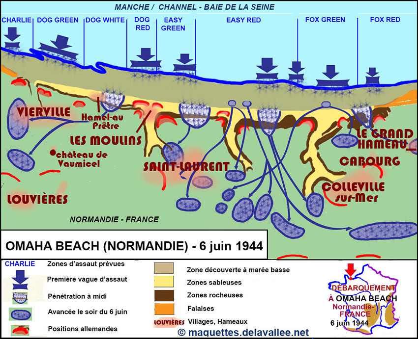 carte Omaha beach Juin 1944